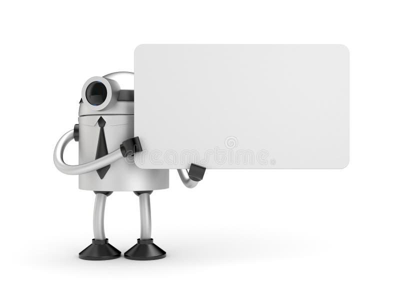 Een robot die een teken houden royalty-vrije illustratie