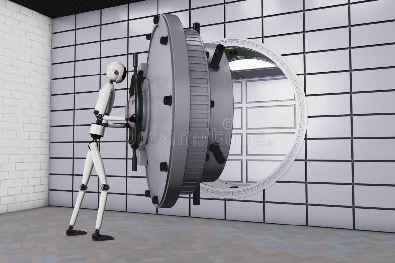 Een robot en een bankbrandkast vector illustratie