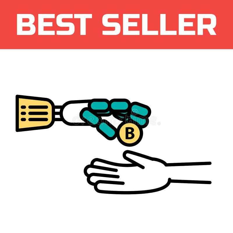 Een robotachtig wapen geeft een bitcoinmuntstuk Het cyberwapen is een symbool van robotica en automatisering Modern elektronisch  royalty-vrije illustratie