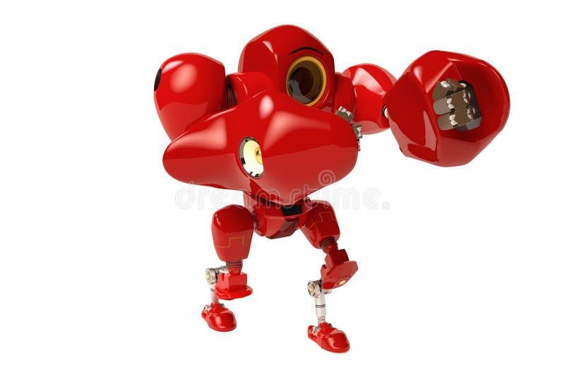 Een rode in dozen doende robothanden omhoog stock illustratie