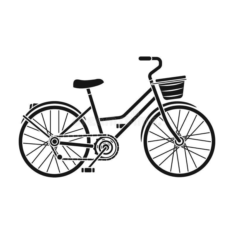 Een rode fiets met wielen en mand Het milieuvriendelijke vervoer Verschillend Fiets enig pictogram in zwarte stijlvector vector illustratie