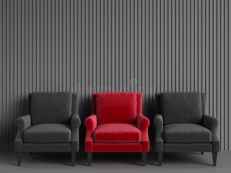 Een rode stoel onder roze stoelen op grijze backgrond stock foto