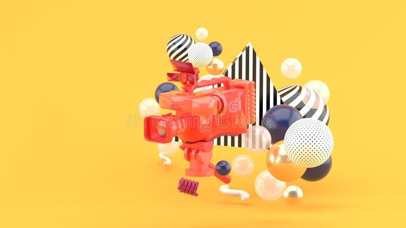 Een rode videocamera die door kleurrijke ballen op een oranje achtergrond wordt omringd royalty-vrije illustratie