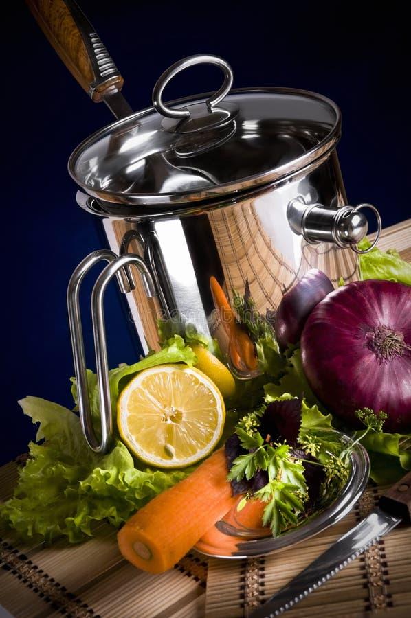 Download Een roestvrije pan stock foto. Afbeelding bestaande uit aluminium - 10777936