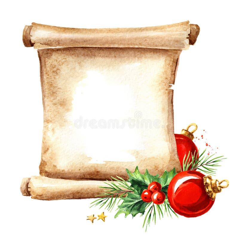 Een rol van oud document met Kerstmiselementen Klaar voor Uw Tekst en Ontwerp Waterverfhand getrokken die illustratie, op wit ter royalty-vrije illustratie