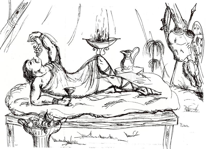 een Roman ambtenaar in een tent tijdens een onderbreking in slag vector illustratie