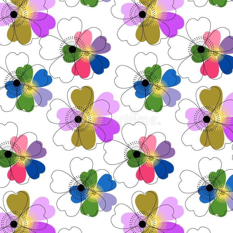 Een romantische bloemenachtergrond Bloem Japanse madeliefjes vector illustratie