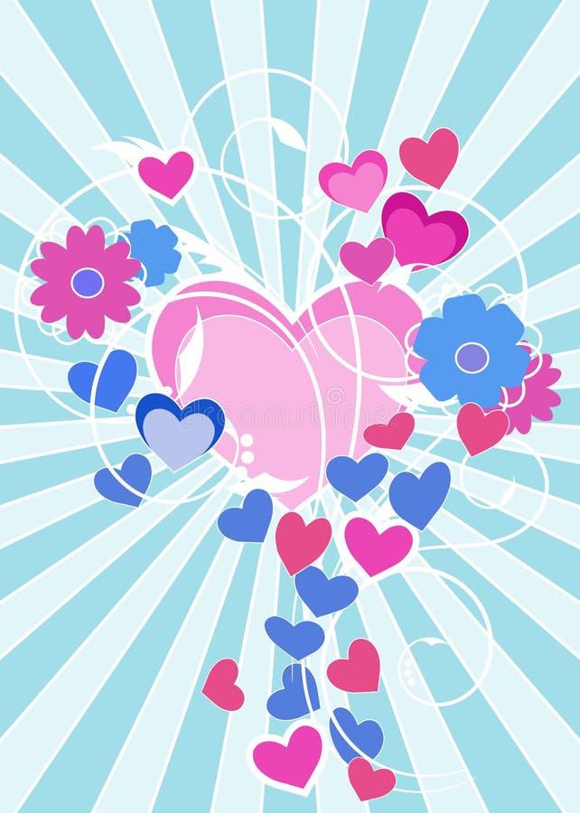 Een romantische kaart voor de Dag van Valentine ` s vector illustratie