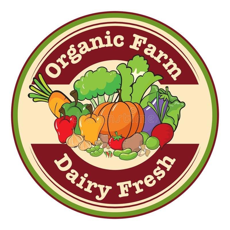 Een rond malplaatje met een organisch landbouwbedrijf en een zuivel vers etiket vector illustratie