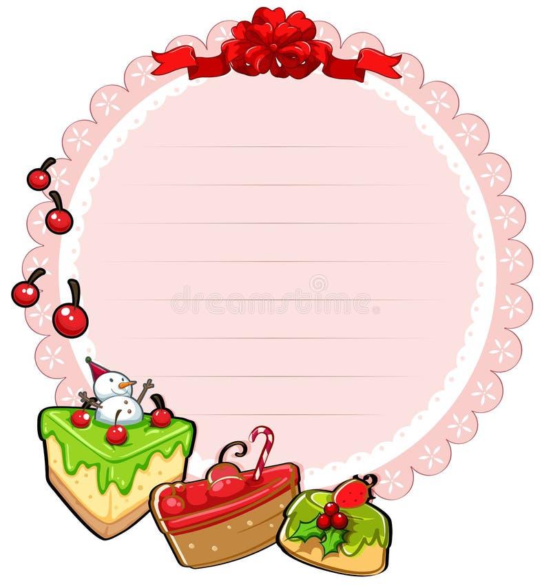 Een rond malplaatje van de Kerstmiskaart met cakes vector illustratie