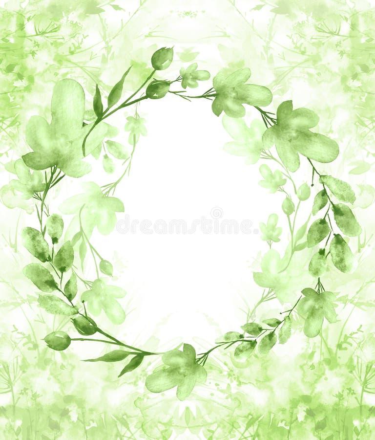 Een rond waterverfkader, een prentbriefkaar, een kroon van bloemen, takjes, installaties, bessen Uitstekende illustratie Gebruik  vector illustratie