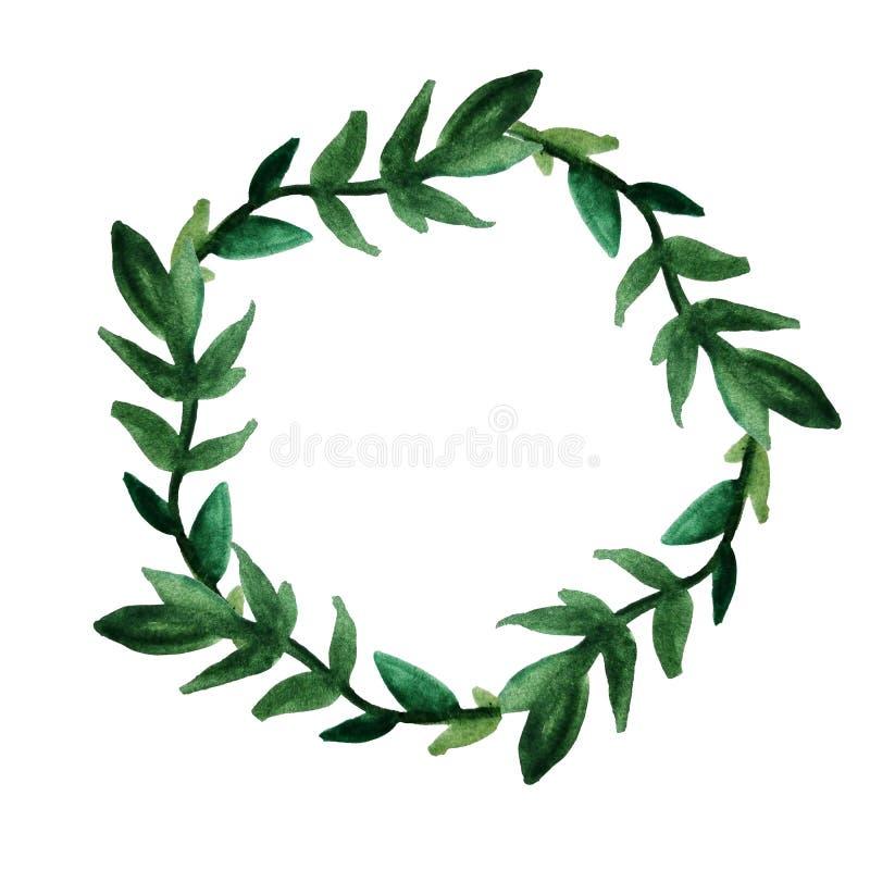 Een ronde kroon van groene bladeren en takjes Langs getrokken dien waterverf op een ge?soleerde witte achtergrond in Prentbriefka stock illustratie