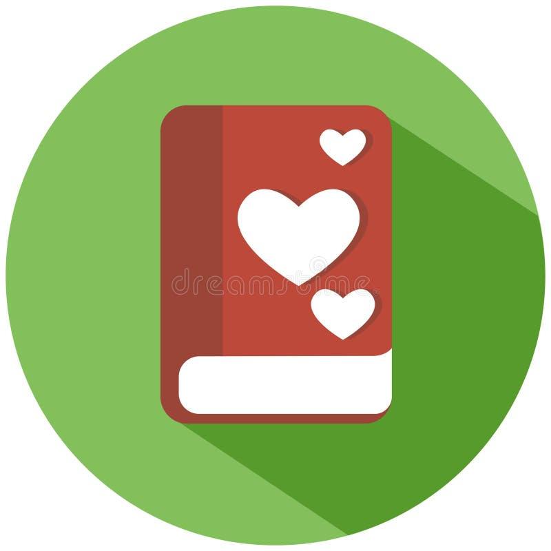 Een rood boek met harten in een groene die cirkel, op witte achtergrond wordt geïsoleerd Het pictogram van toestellen royalty-vrije illustratie