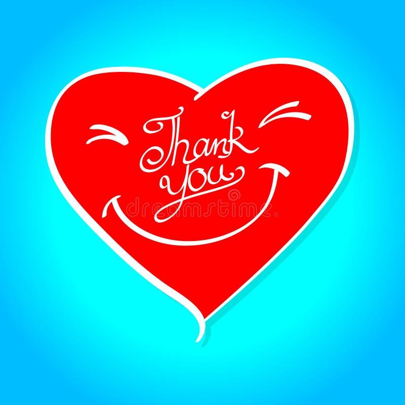 Een rood glimlachhart met woord dankt u vector illustratie