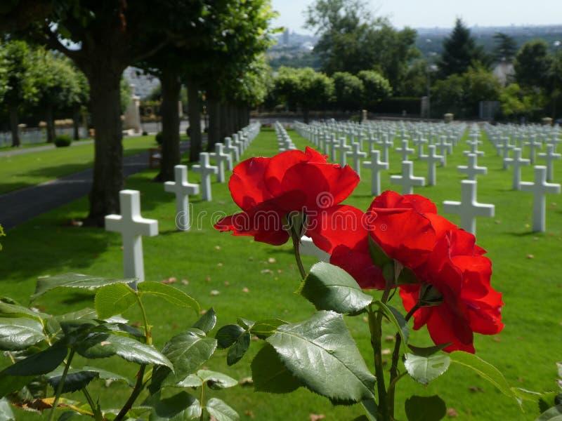 Een rood nam, met witte kruisen op een groen gazon op de achtergrond toe, bij de Amerikaanse Begraafplaats van Suresnes, Frankrij stock afbeeldingen