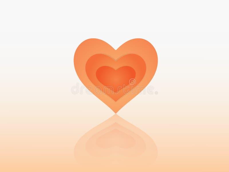 Een rood ontwerp van de hartvorm met vele lagen en schaduw om liefde voor geliefde persoon te tonen stock illustratie