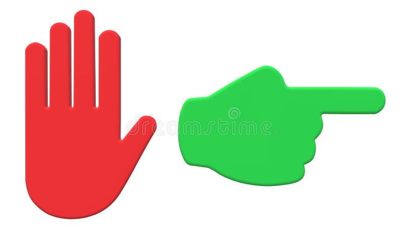 Een rood teken van de eindehand en green gaan dit teken van de manierhand stock illustratie