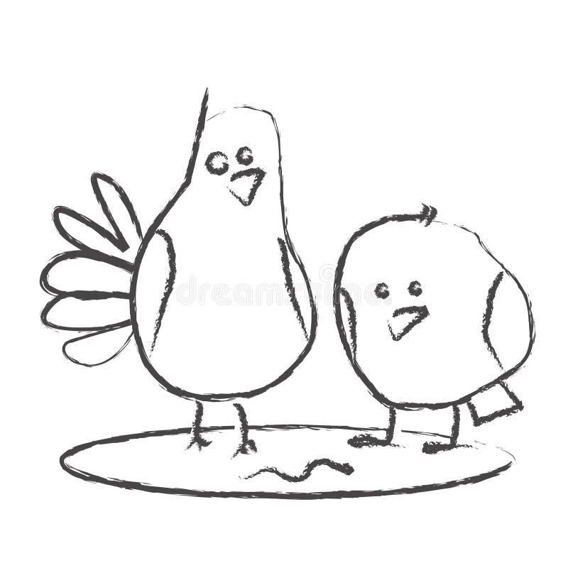 Een rooster-grappige tekening van een duif & een mus royalty-vrije stock afbeelding