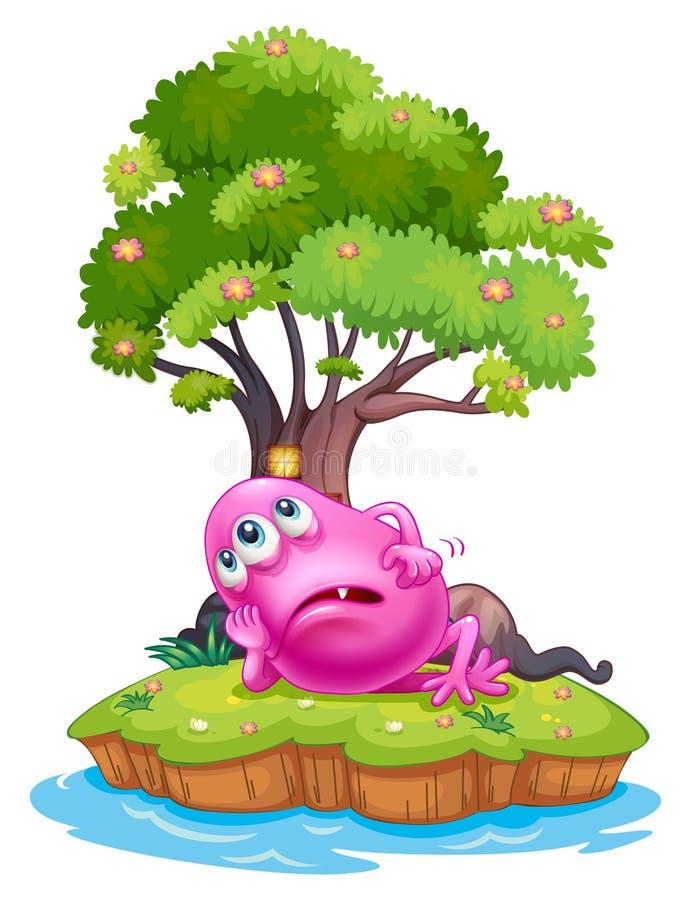 Een roze beaniemonster die onder het boomhuis rusten in het eiland stock illustratie