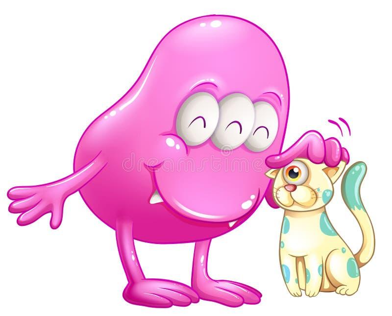 Een roze beaniemonster met een kat stock illustratie