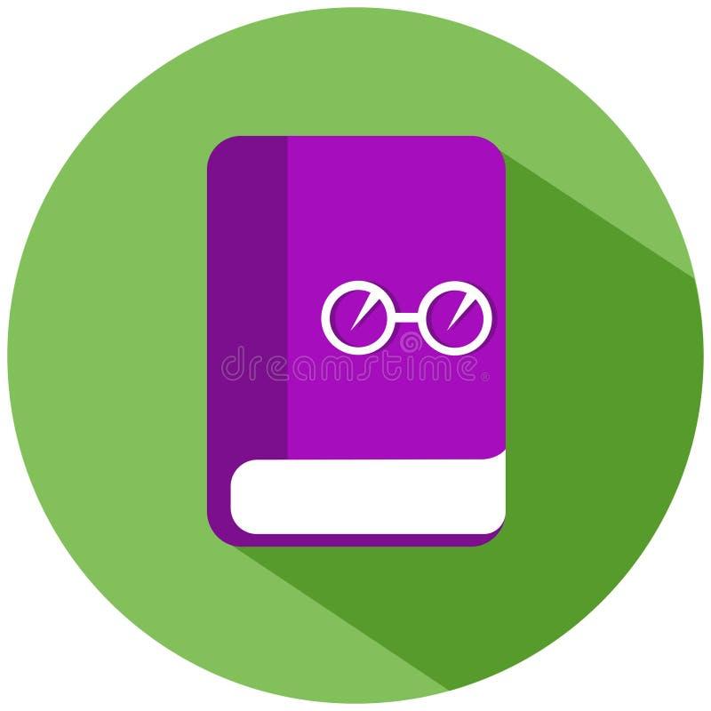 Een roze boek met glazen in een groene die cirkel, op witte achtergrond wordt geïsoleerd Het pictogram van toestellen royalty-vrije illustratie