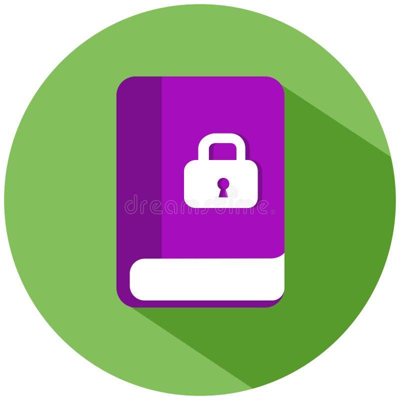Een roze boek met een wit slot in een groene die cirkel op witte achtergrond wordt geïsoleerd Het pictogram van toestellen vector illustratie