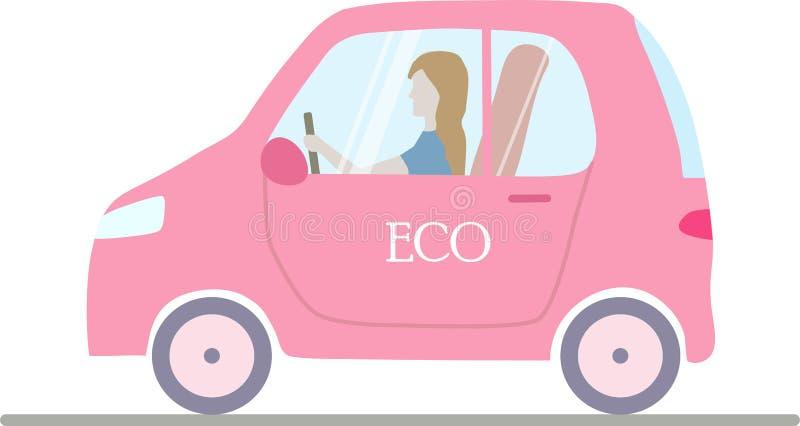 Een roze geïsoleerde eco; ogical elektrische auto met een vrouw royalty-vrije illustratie