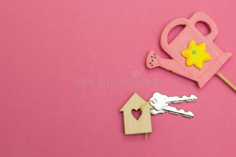Een roze gieter wordt water gegeven door een blokhuis op een roze achtergrond stock afbeelding