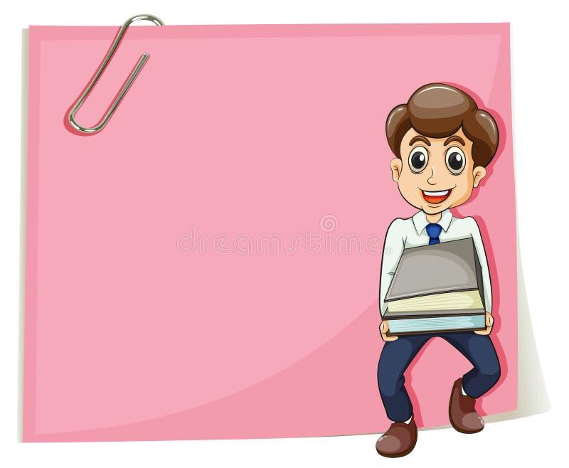 Een roze leeg document met een zakenman die sommige documenten dragen stock illustratie