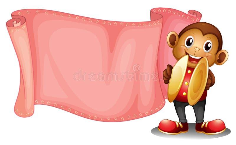 Een roze lege banner met een aap royalty-vrije illustratie