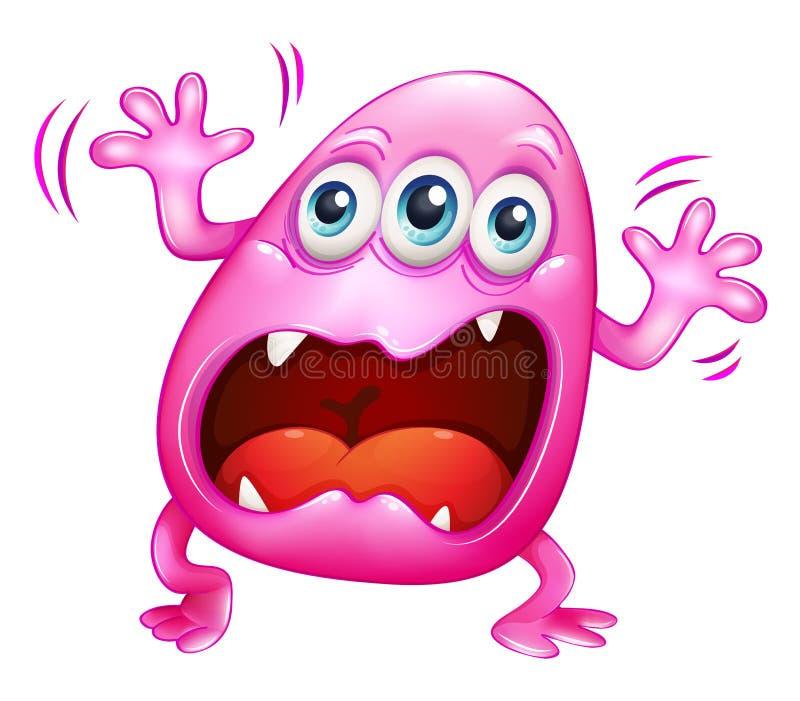Een roze monster die wegens frustratie schreeuwen vector illustratie