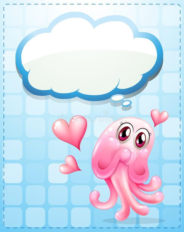 Een roze monster met een lege gedachte royalty-vrije illustratie
