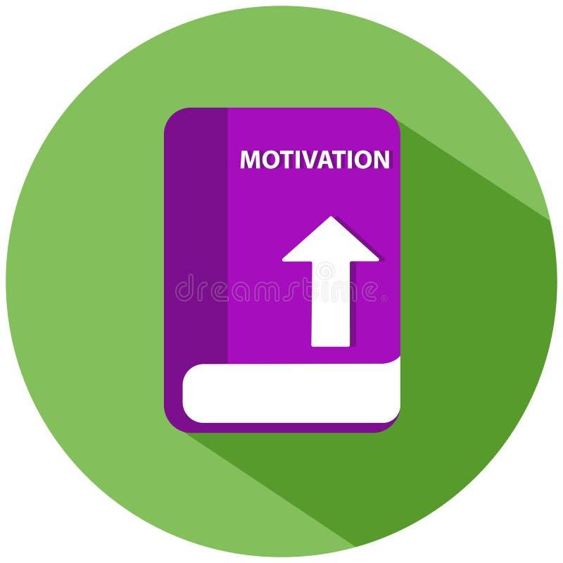 Een roze motivatieboek in een groene die cirkel, op witte achtergrond wordt geïsoleerd Het pictogram van toestellen stock illustratie