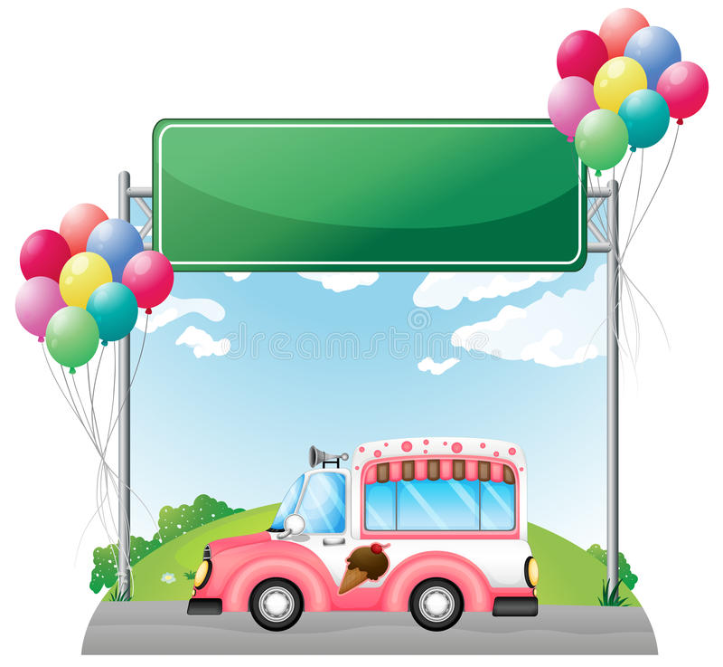 Een roze roomijsbus dichtbij een lege groene raad vector illustratie
