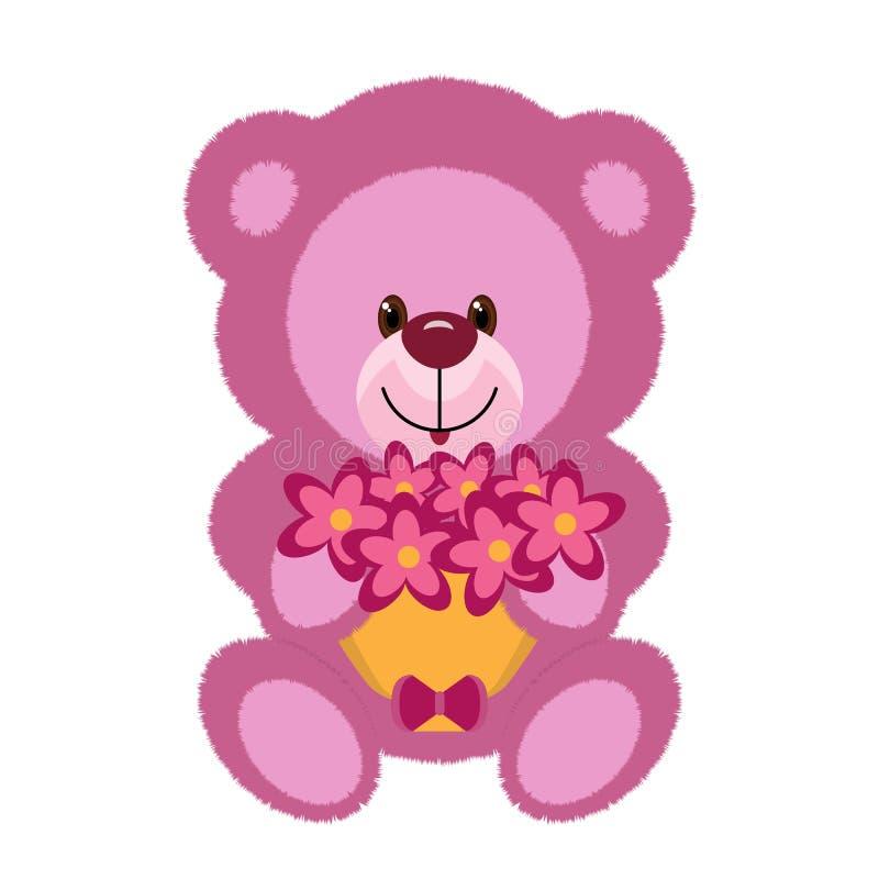 Een roze teddybeerstuk speelgoed houdt een boeket van bloemen stock illustratie