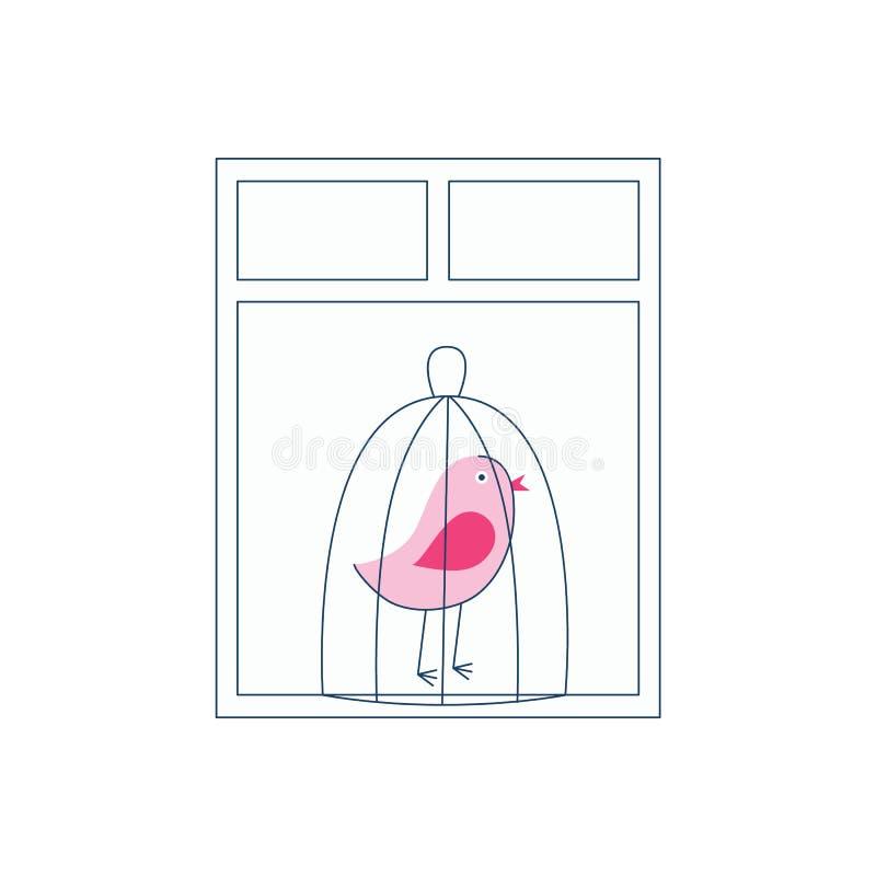 Een roze vogel in een kooi bevindt zich door het venster vector illustratie