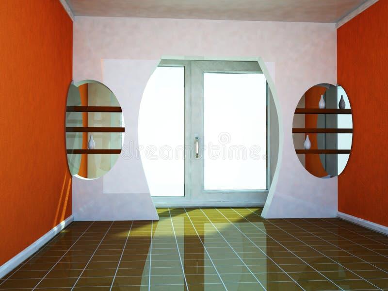 Een ruimte met een groot venster en de deuropening royalty-vrije illustratie