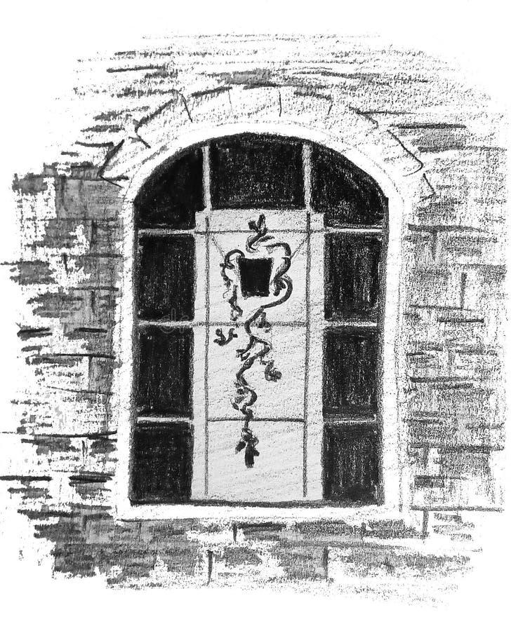 Een ruw abstract beeld van een venster met een bloem in een pot De tekening van het potlood stock illustratie