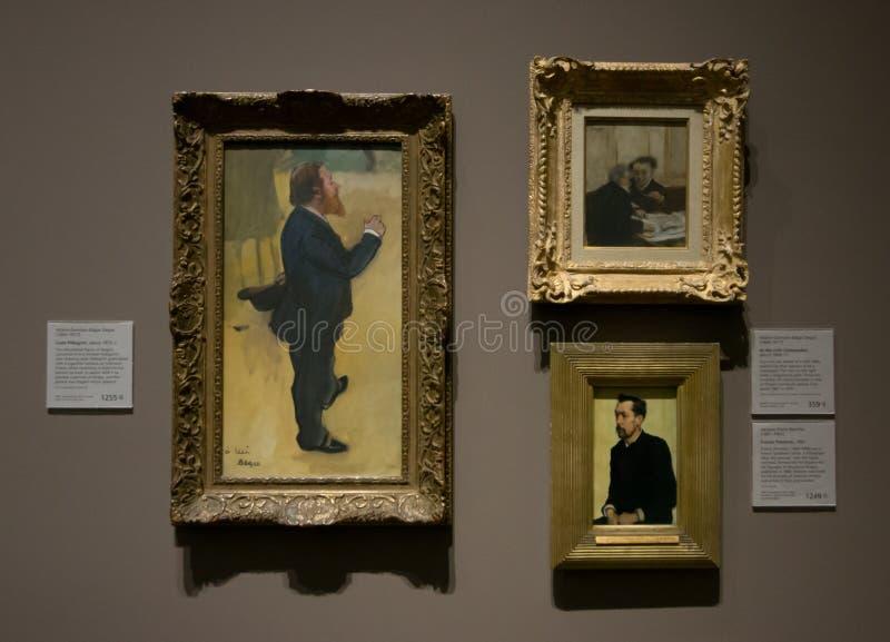 Een samenstelling van schilderijen door Hilaire-Germain-Edgar Degas in het National Gallery in Londen royalty-vrije stock foto's