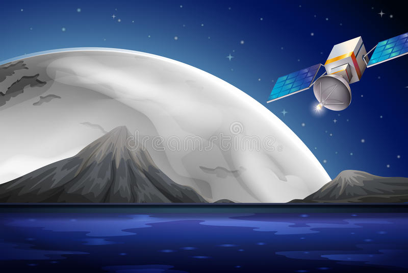 Een satelliet dichtbij de oceaan stock illustratie