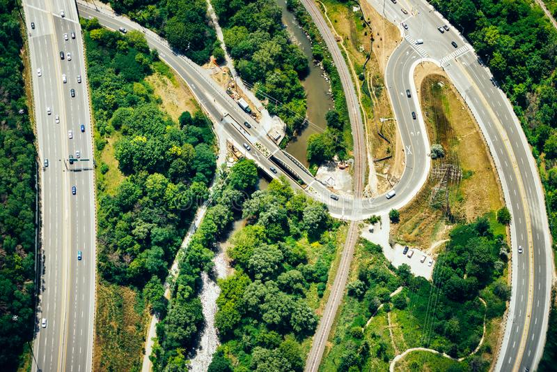 Een satellietbeeld van een wegsysteem stock foto