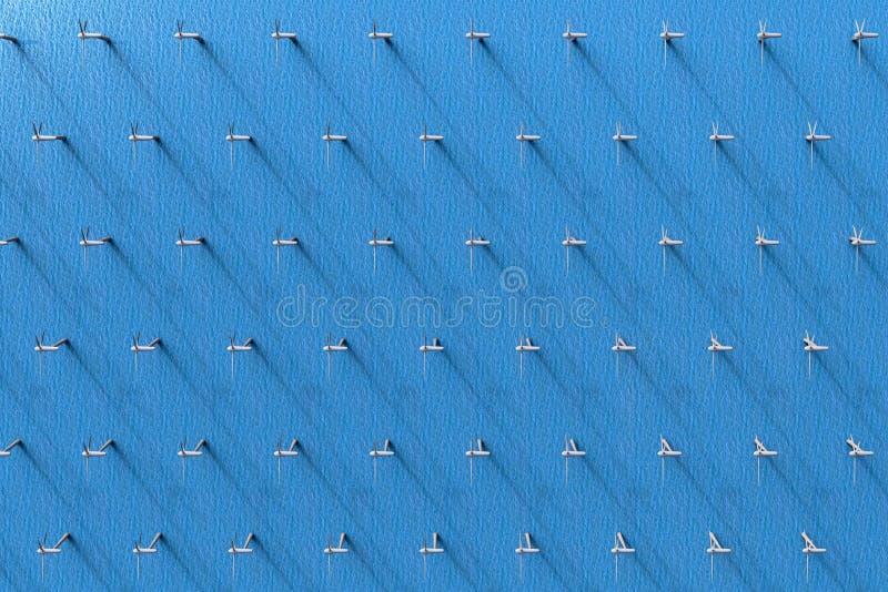 Een satellietbeeld van windturbines in de oceaan vector illustratie