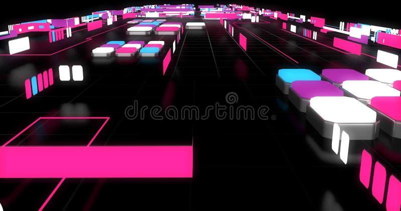 Een scène van conceptueel/vat kleurrijke meetkundevormen samen die een labyrint maken stock illustratie