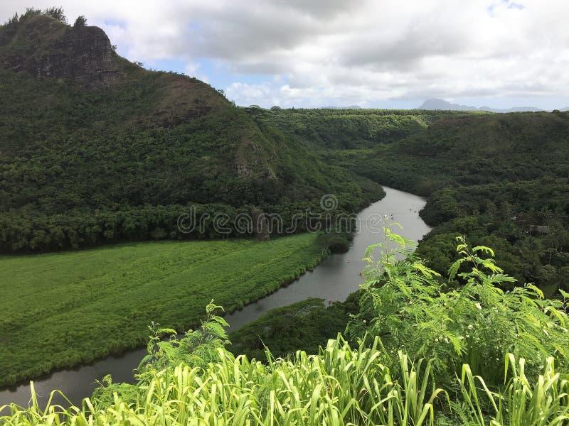 Een sc?ne van het Eiland Kauai op Hawa? stock afbeelding