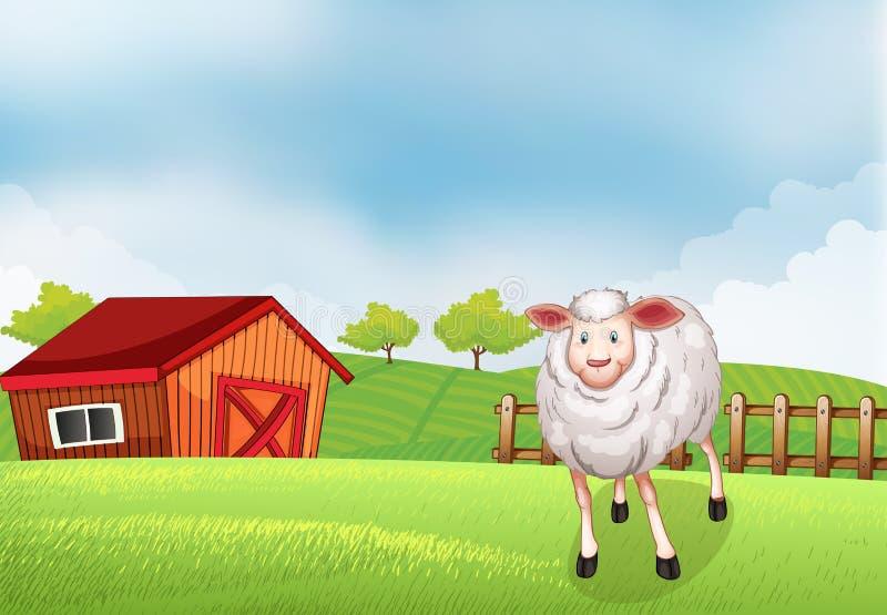 Een schaap bij het landbouwbedrijf royalty-vrije illustratie