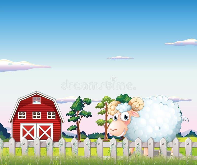 Een schaap binnen de omheining bij het landbouwbedrijf royalty-vrije illustratie