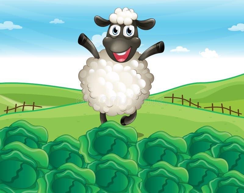 Een schaap boven de heuvel met een landbouwbedrijf royalty-vrije illustratie