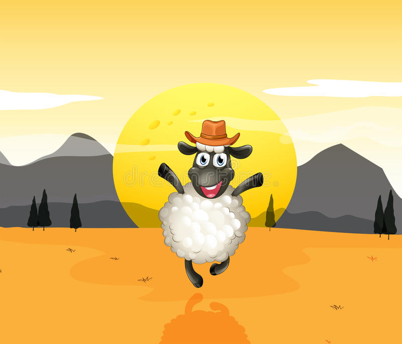 Een schaap in het midden van de woestijn stock illustratie