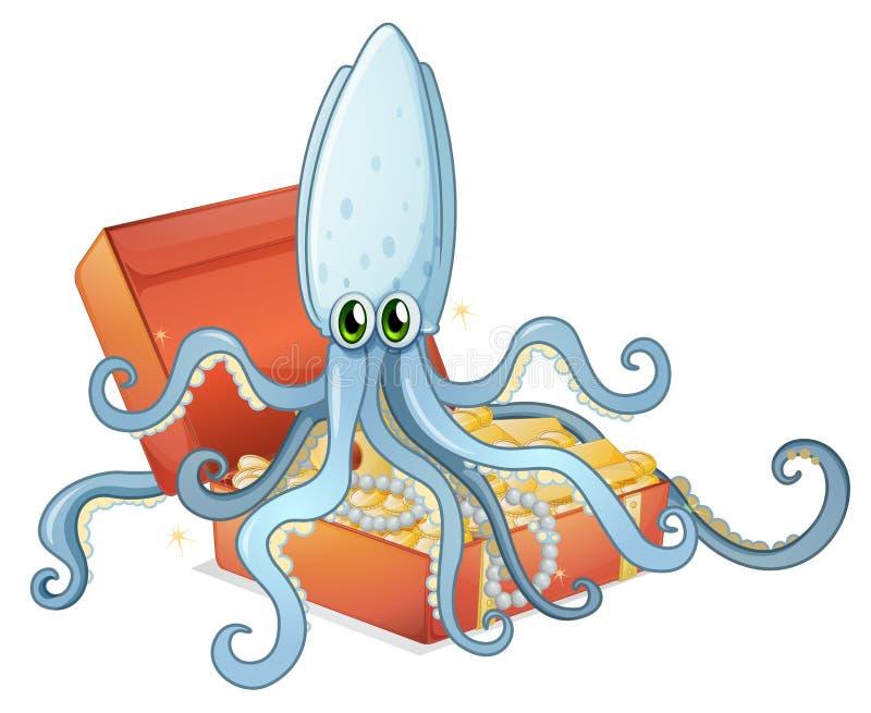 Een schatdoos met een octopus royalty-vrije illustratie