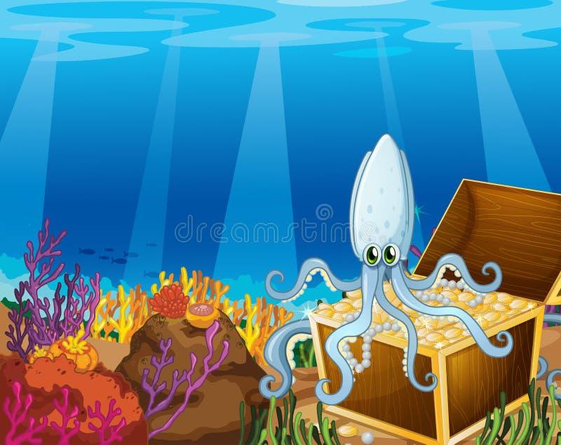 Een schatdoos onder het overzees met een octopus stock illustratie